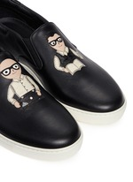 'London' designer appliqué leather skate slip-ons