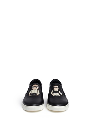 Front View - Click To Enlarge - Dolce & Gabbana - 'London' designer appliqué leather skate slip-ons