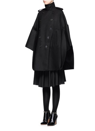 Front View - Click To Enlarge - Valentino - Foldup armseye virgin wool cape