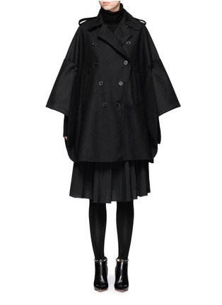 Main View - Click To Enlarge - Valentino - Foldup armseye virgin wool cape