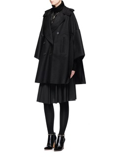 Valentino Foldup armseye virgin wool cape