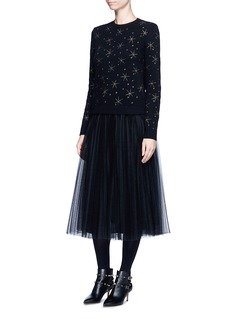 Valentino Star embroidered virgin wool-cashmere sweater