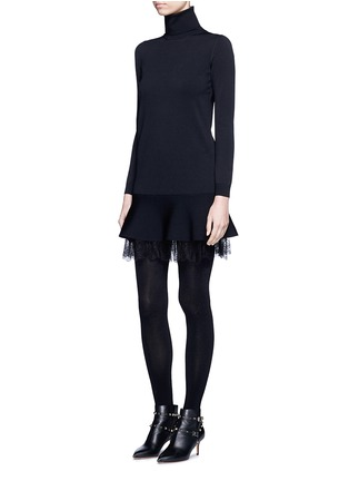 Figure View - Click To Enlarge - Valentino - Floral lace hem flared turtleneck dress