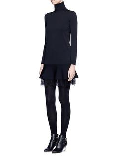 ValentinoFloral lace hem flare turtleneck dress