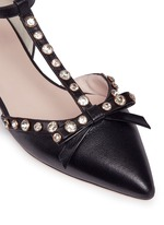 'Becca' jewelled bow T-strap leather flats