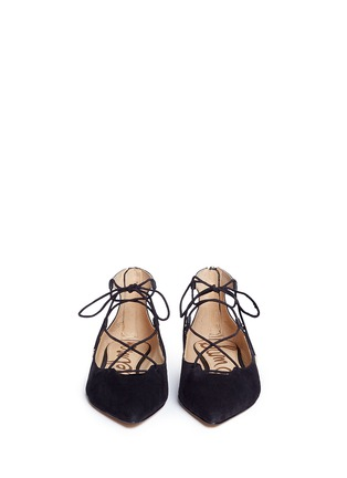 Front View - Click To Enlarge - Sam Edelman - 'Rosie' lace-up suede skimmer flats