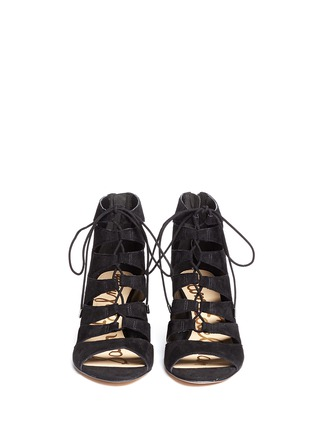 Front View - Click To Enlarge - Sam Edelman - 'Santina' caged lace-up suede wedge sandals