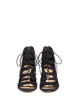 'Santina' caged lace-up suede wedge sandals