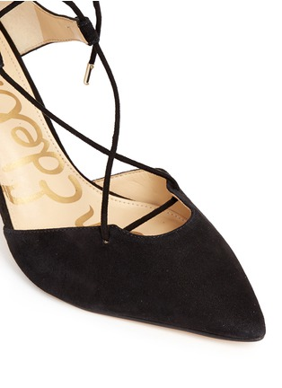 Detail View - Click To Enlarge - Sam Edelman - 'Taylor' lace-up suede and leather pumps