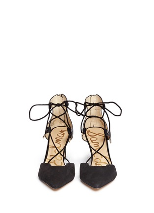 Front View - Click To Enlarge - Sam Edelman - 'Taylor' lace-up suede and leather pumps
