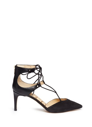 Main View - Click To Enlarge - Sam Edelman - 'Taylor' lace-up suede and leather pumps
