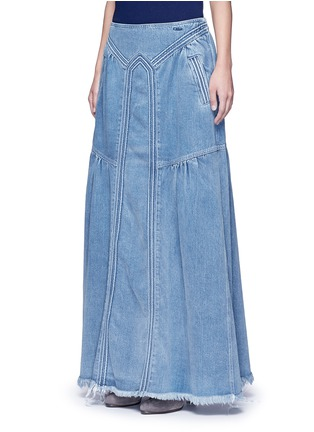 Front View - Click To Enlarge - Chloé - Frayed hem denim maxi skirt