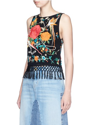 Front View - Click To Enlarge - alice + olivia - 'Clarice' floral embroidery fringe chiffon top