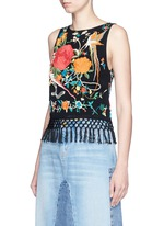 'Clarice' floral embroidery fringe chiffon top