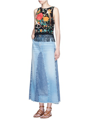 Figure View - Click To Enlarge - alice + olivia - 'Clarice' floral embroidery fringe chiffon top