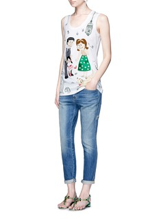 Dolce & GabbanaDG family appliqué garden print jersey tank top