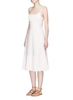 THEORY'Minkar' pleat hem wrap waist poplin dress