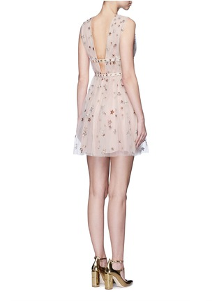 Back View - Click To Enlarge - Valentino - Sequin star plunge tulle dress