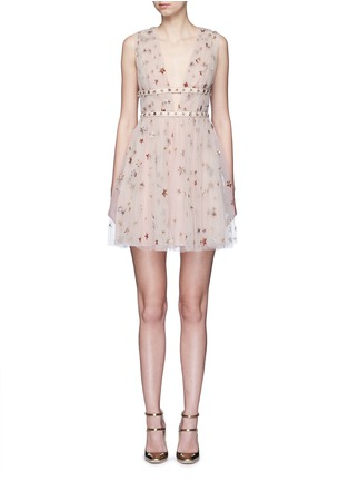 Main View - Click To Enlarge - Valentino - Sequin star plunge tulle dress