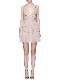 ValentinoSequin star plunge tulle dress