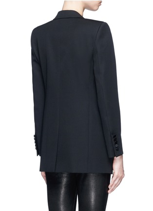 Back View - Click To Enlarge - SAINT LAURENT - Satin peak lapel virgin wool jacket