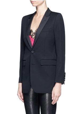 Front View - Click To Enlarge - SAINT LAURENT - Satin peak lapel virgin wool jacket