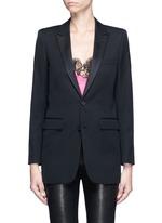 Satin peak lapel virgin wool jacket