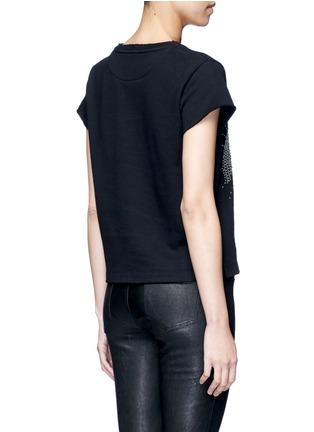 Back View - Click To Enlarge - Valentino - Embellished eagle terry raw edge sweatshirt