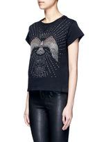 Embellished eagle terry raw edge sweatshirt