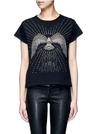 Main View - Click To Enlarge - Valentino - Embellished eagle terry raw edge sweatshirt