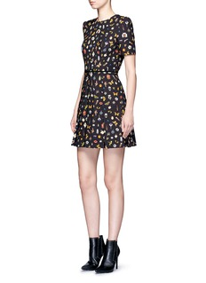 Alexander McQueen 'Obsession' print pleated crepe dress