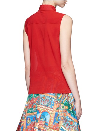 Back View - Click To Enlarge - alice + olivia - 'Teri' floral ribbon necktie sleeveless crepe shirt