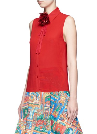 Front View - Click To Enlarge - alice + olivia - 'Teri' floral ribbon necktie sleeveless crepe shirt