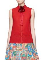 'Teri' floral ribbon necktie sleeveless crepe shirt