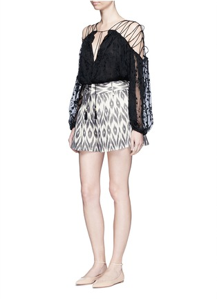Figure View - Click To Enlarge - alice + olivia - 'Scarlet' ikat print flutter shorts