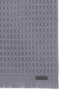 Textured check wool scarf