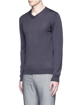 Front View - Click To Enlarge - Armani Collezioni - V-neck wool sweater