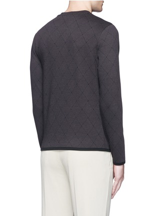 Back View - Click To Enlarge - Armani Collezioni - Diamond jacquard slim fit sweater