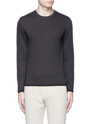 Main View - Click To Enlarge - Armani Collezioni - Diamond jacquard slim fit sweater