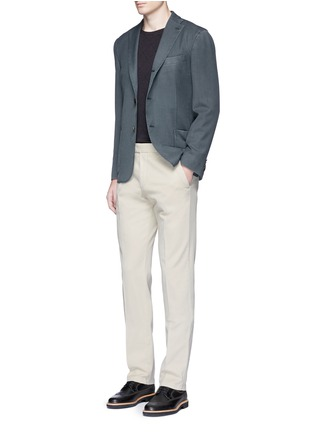 Figure View - Click To Enlarge - Armani Collezioni - Diamond jacquard slim fit sweater