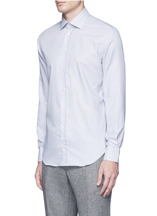 Front View - Click To Enlarge - Armani Collezioni - Slim fit check cotton shirt