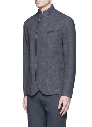 Front View - Click To Enlarge - Armani Collezioni - Nehru collar bonded wool blouson jacket