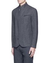 Nehru collar bonded wool blouson jacket