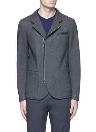 Main View - Click To Enlarge - Armani Collezioni - Nehru collar bonded wool blouson jacket