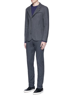 Armani CollezioniNehru collar bonded wool blouson jacket