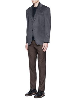 Figure View - Click To Enlarge - Armani Collezioni - Notched lapel velvet blazer