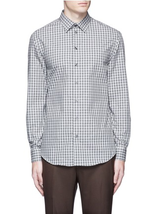 Main View - Click To Enlarge - Armani Collezioni - Gingham check cotton shirt