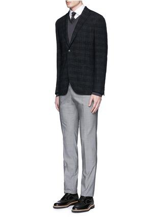 模特儿示范图 - 点击放大 - ARMANI COLLEZIONI - 拼色孔眼纯棉衬衫