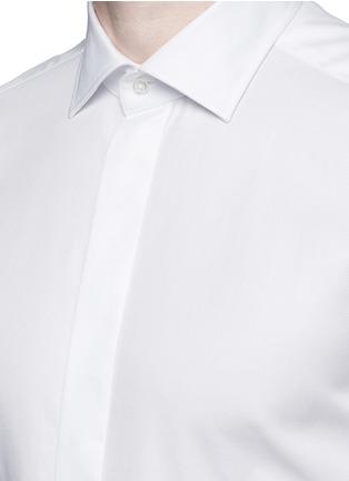 Detail View - Click To Enlarge - Armani Collezioni - Textured cotton tuxedo shirt