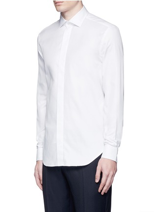 Front View - Click To Enlarge - Armani Collezioni - Textured cotton tuxedo shirt
